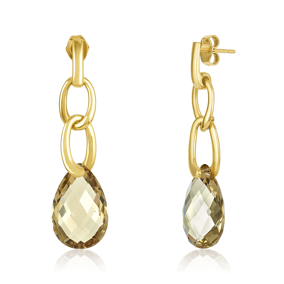 14kt Links Lemon Quartz Earring