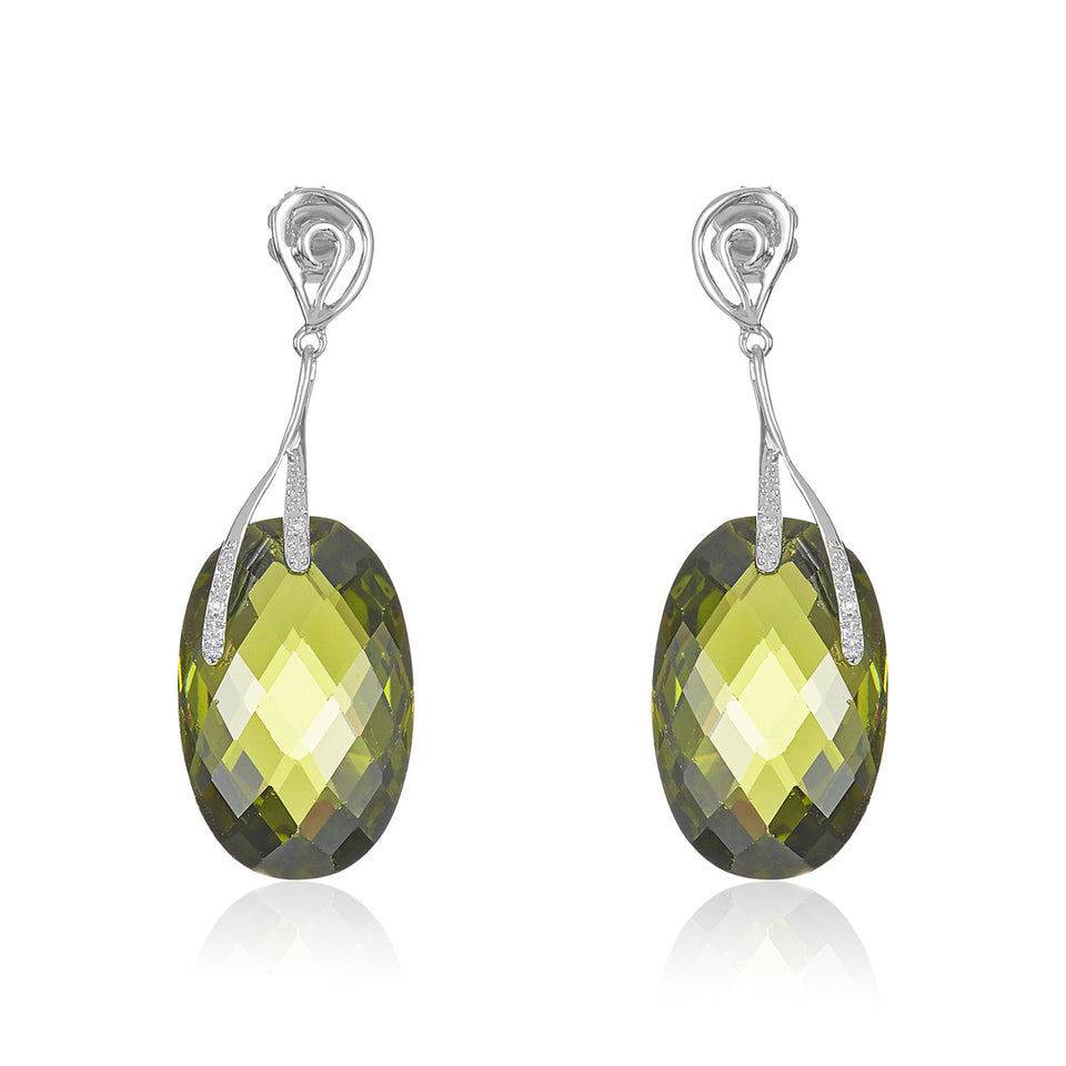 Oval Green Quartz Diamond Earrings