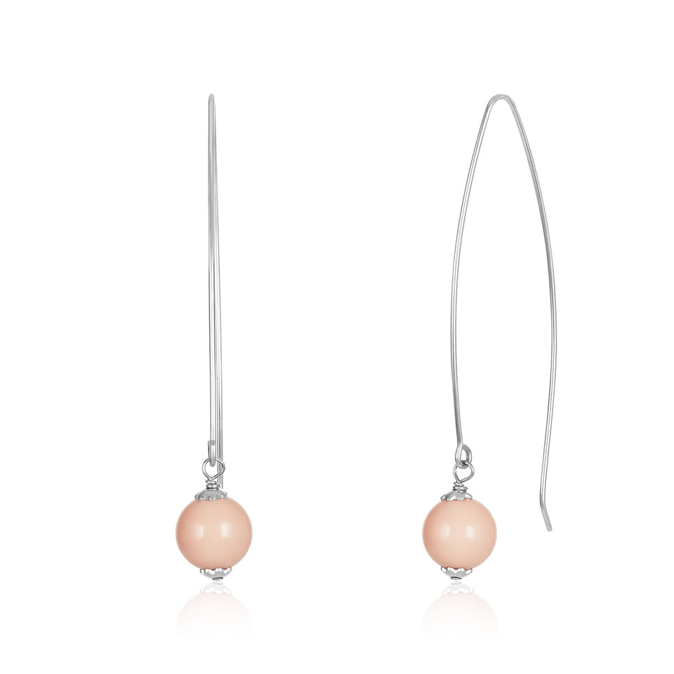 White Gold Pink Coral Fishhook Earring