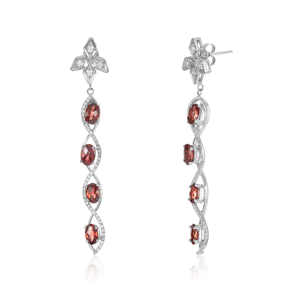 Sizzle Shaped Garnet & Diamond Earrings