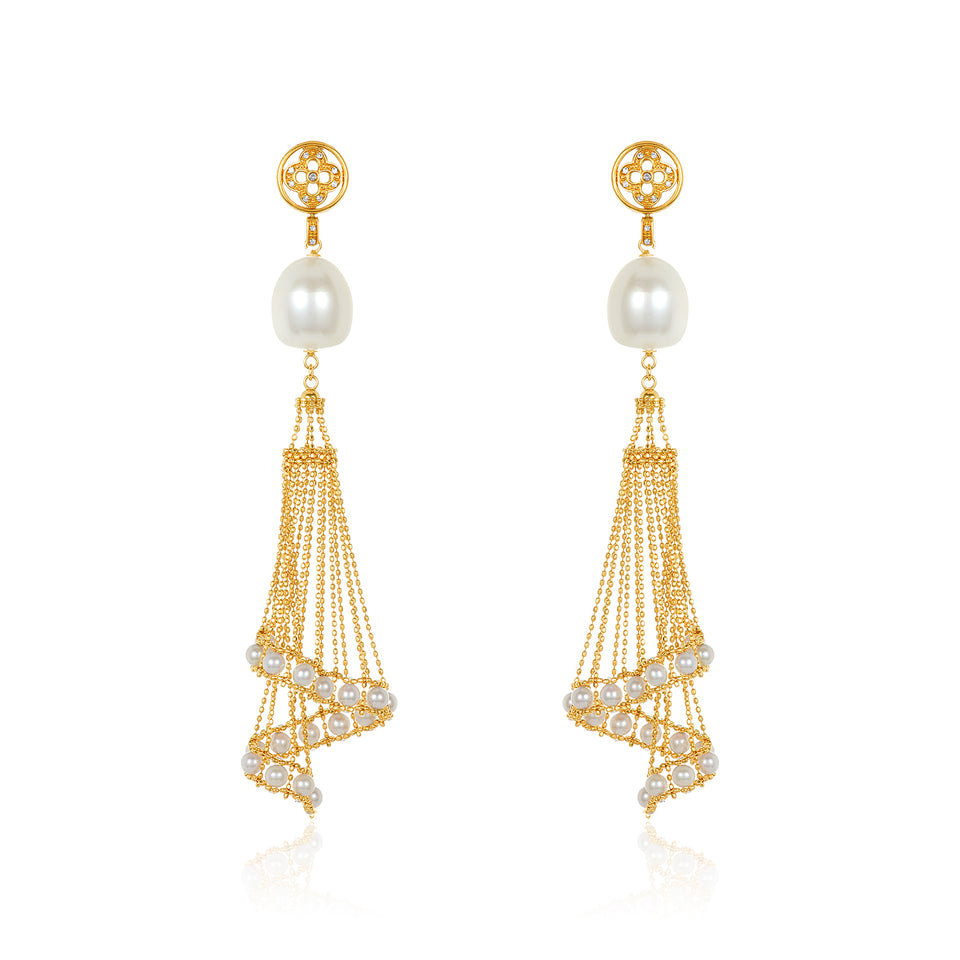 Basket Pearl Drop Earring
