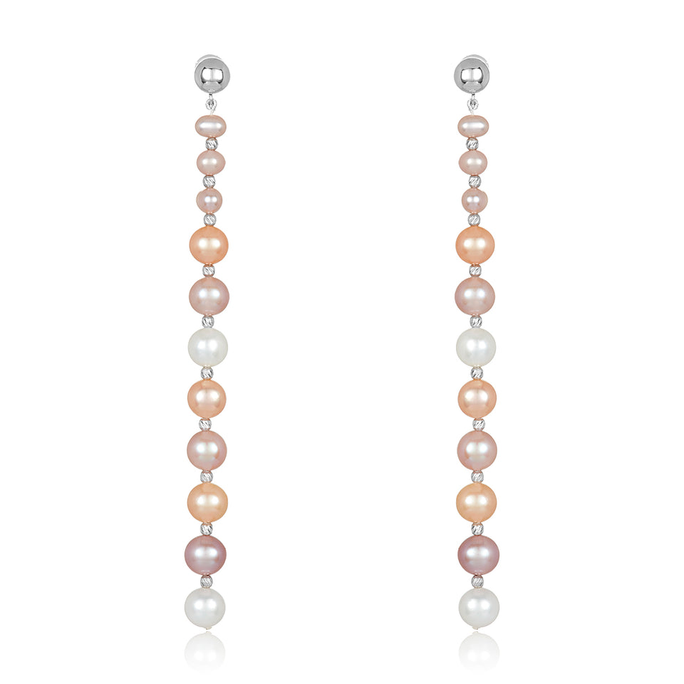 Nehita White Gold Graduating Pastel Pearl Earrings