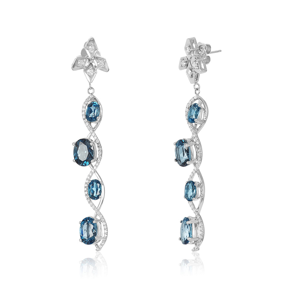 Sizzle London Blue Topaz & Diamond Earrings