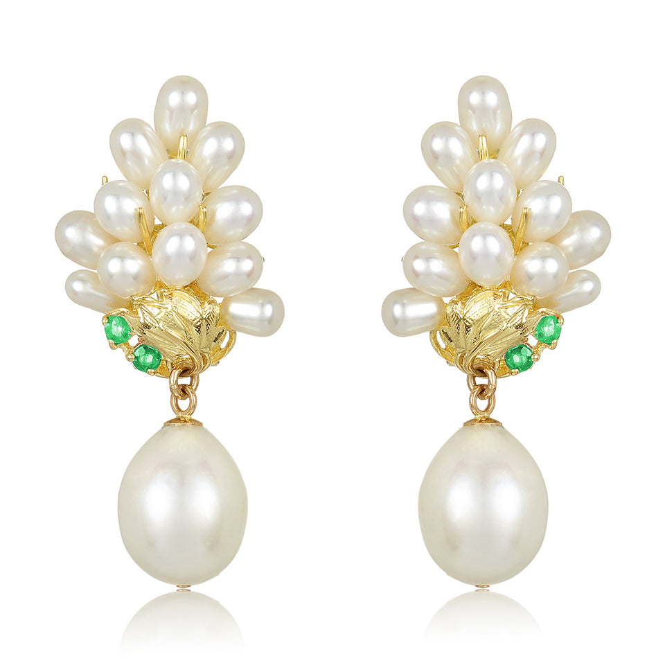 Emerald Leaf Pearl Drop Earring