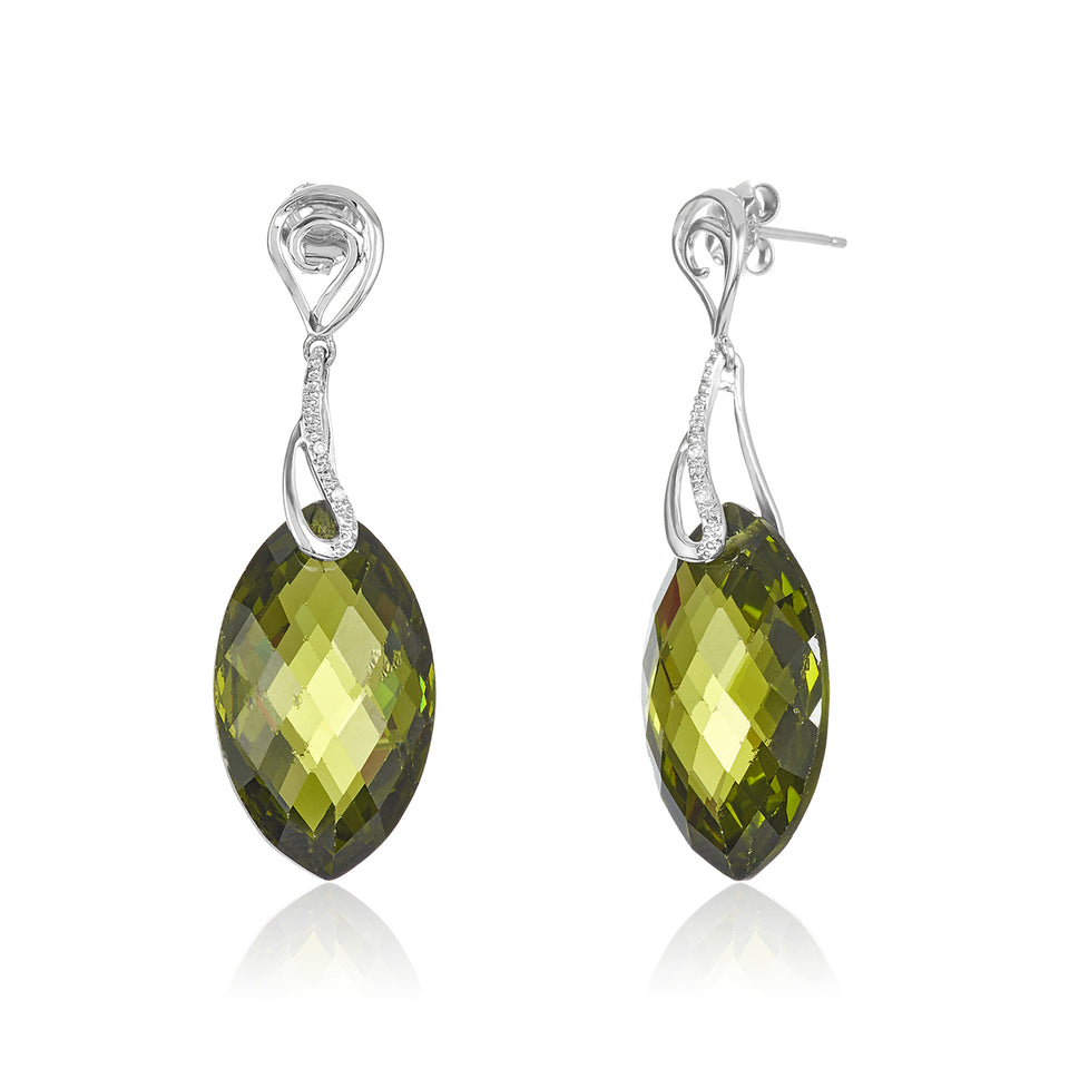 Marquise Green Quartz Diamond Earrings