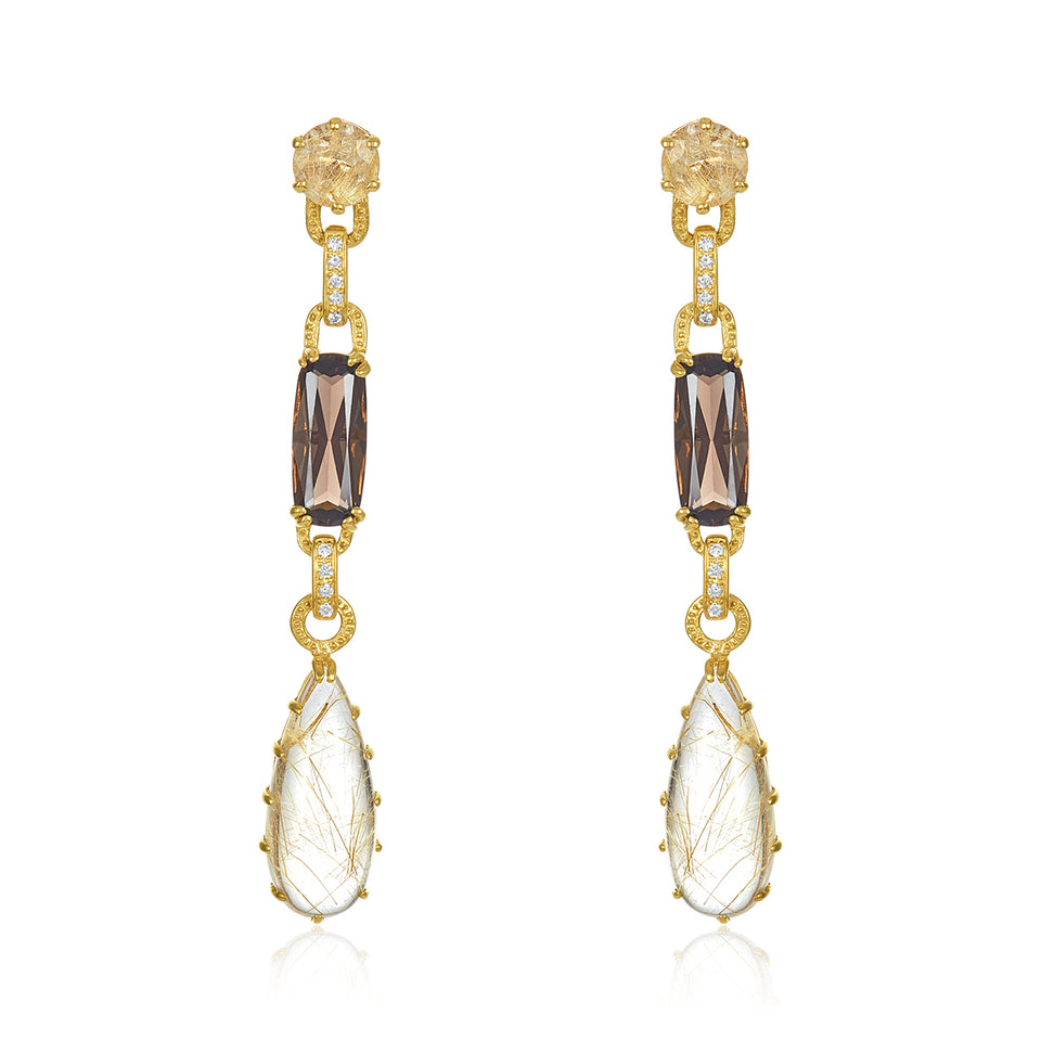 Rutilated Quartz & Diamond Earrings