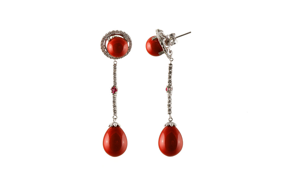 Bright Red Round & Tear Drop Shaped Coral & Diamond Earring