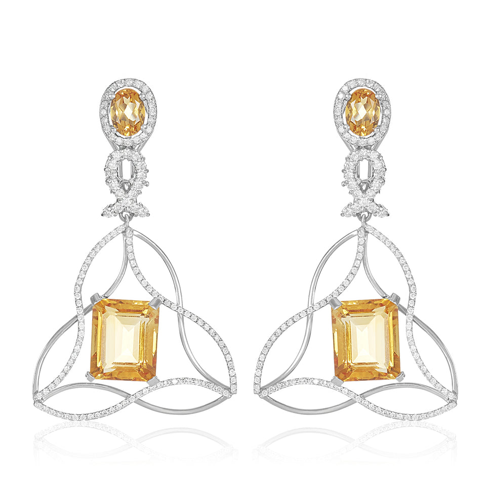 Criss Cross Citrine Diamond Earring