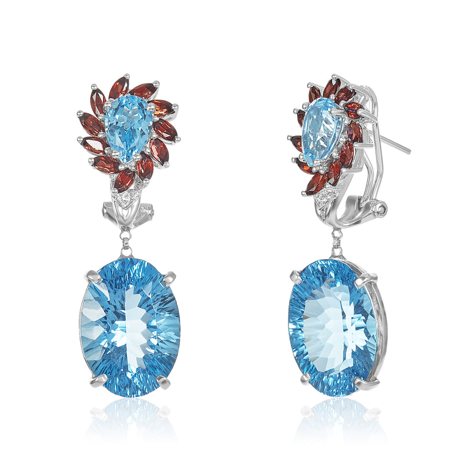 Blue Topaz, Garnet & Diamond Earrings