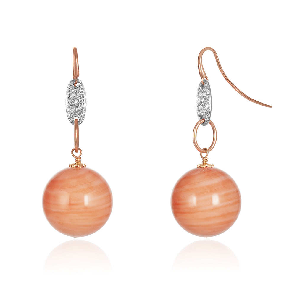 14kt Drop Coral Earring