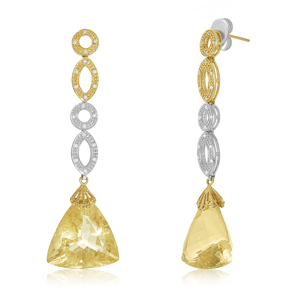 Two Toned Citrine Diamond Earring