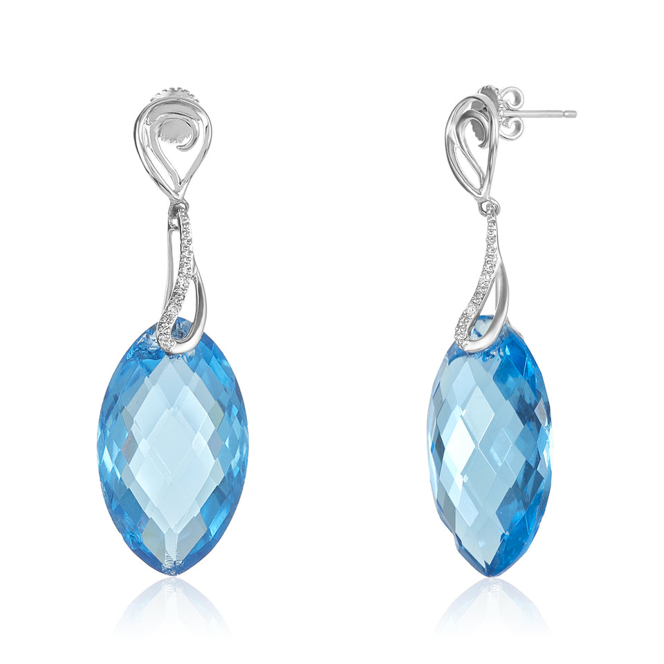 Marquise Blue Topaz Diamond Earrings