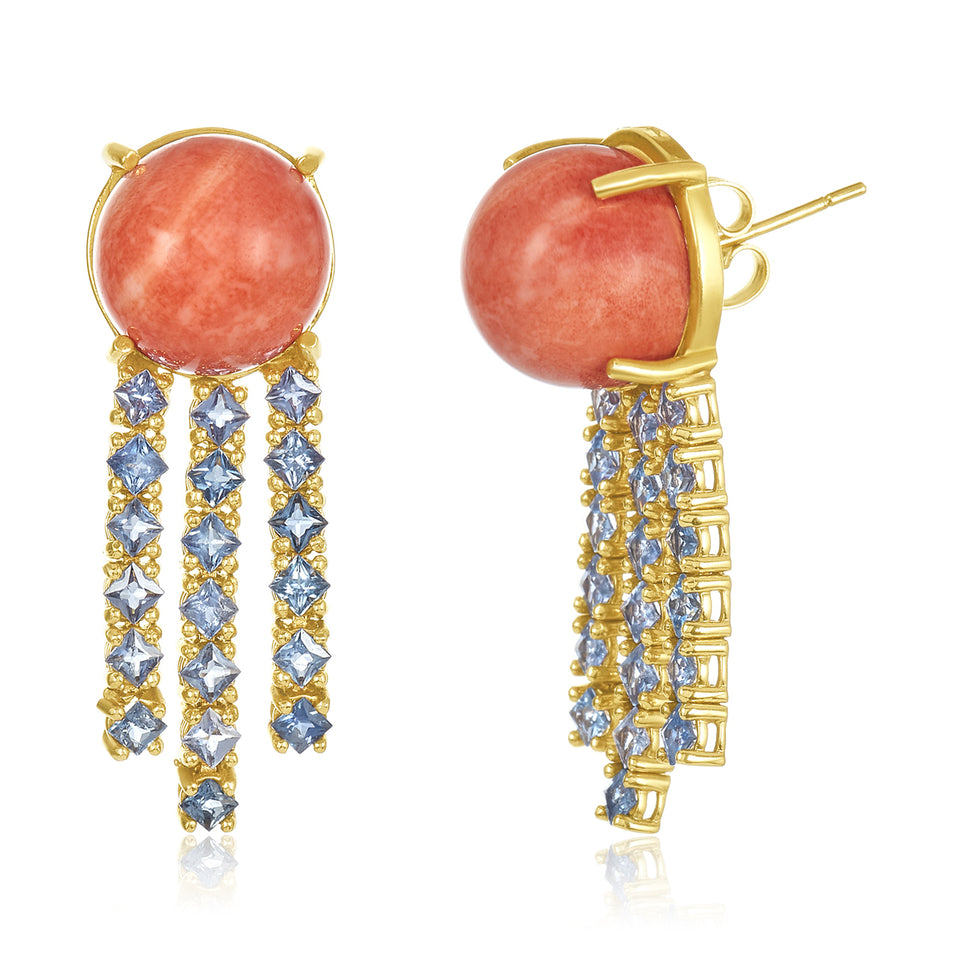 Blue Sapphire Raindrop Coral Earrings