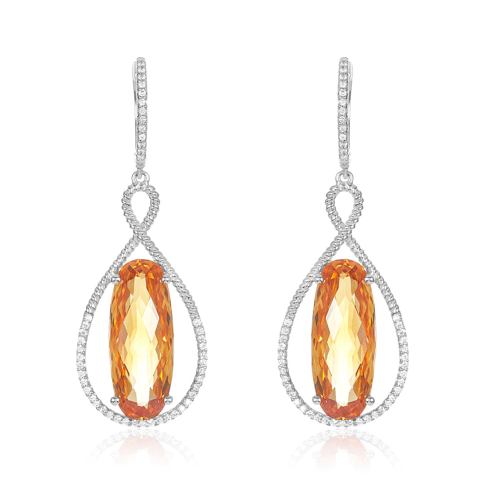 Twist Citrine & Diamond Earrings