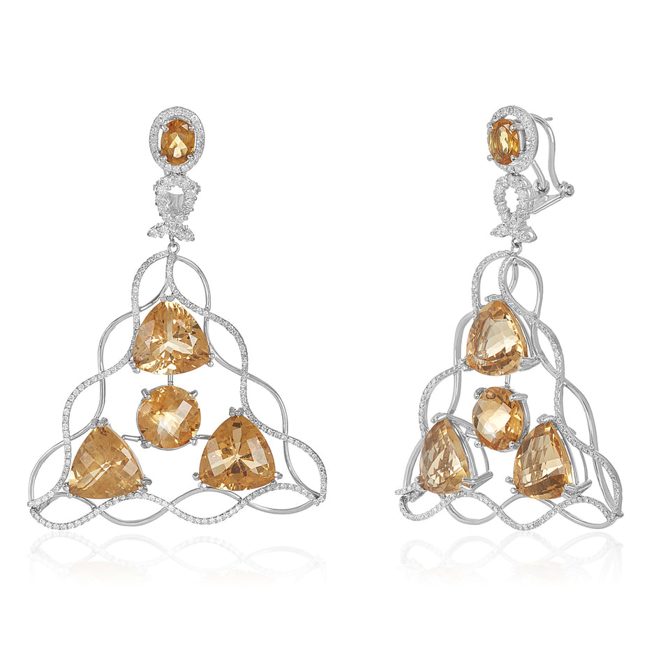 Mega Criss Cross Citrine Diamond Earring