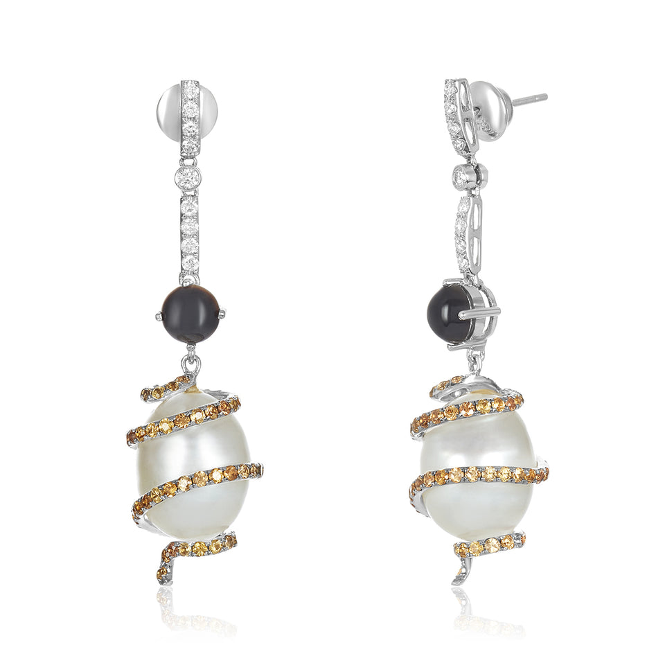 Swirl Diamond Pearl Earrings