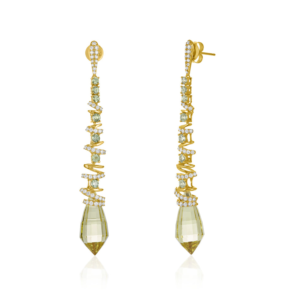 Spiral Lemon Topaz & Diamond Earrings