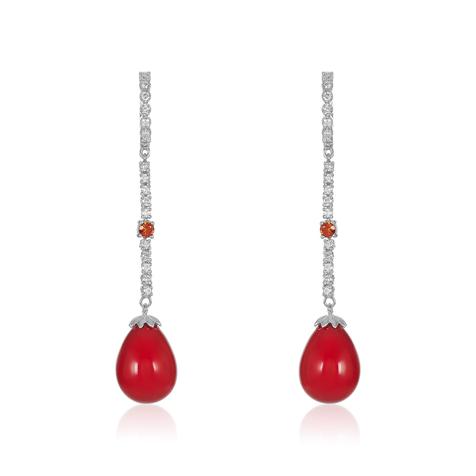 Tear Drop Red Coral, Sapphire & Diamond Earring