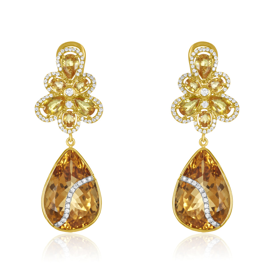 Oriental Citrine & Diamond Earring