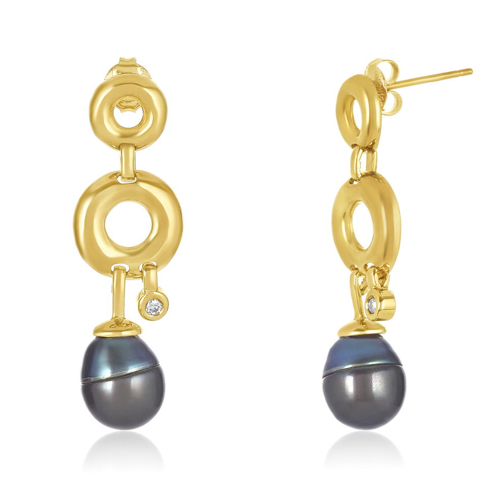 Circle Tahitian Pearl & Diamond Earring