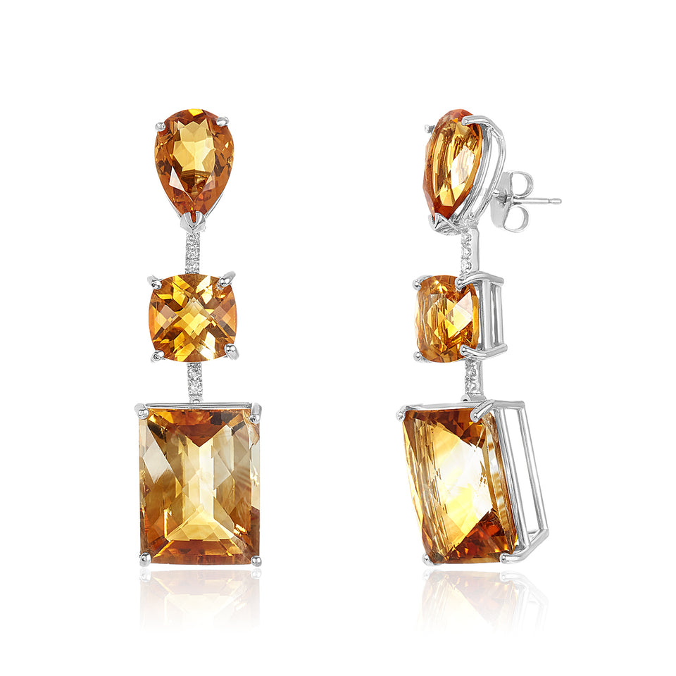 Three Tier Citrine & Diamond Earring