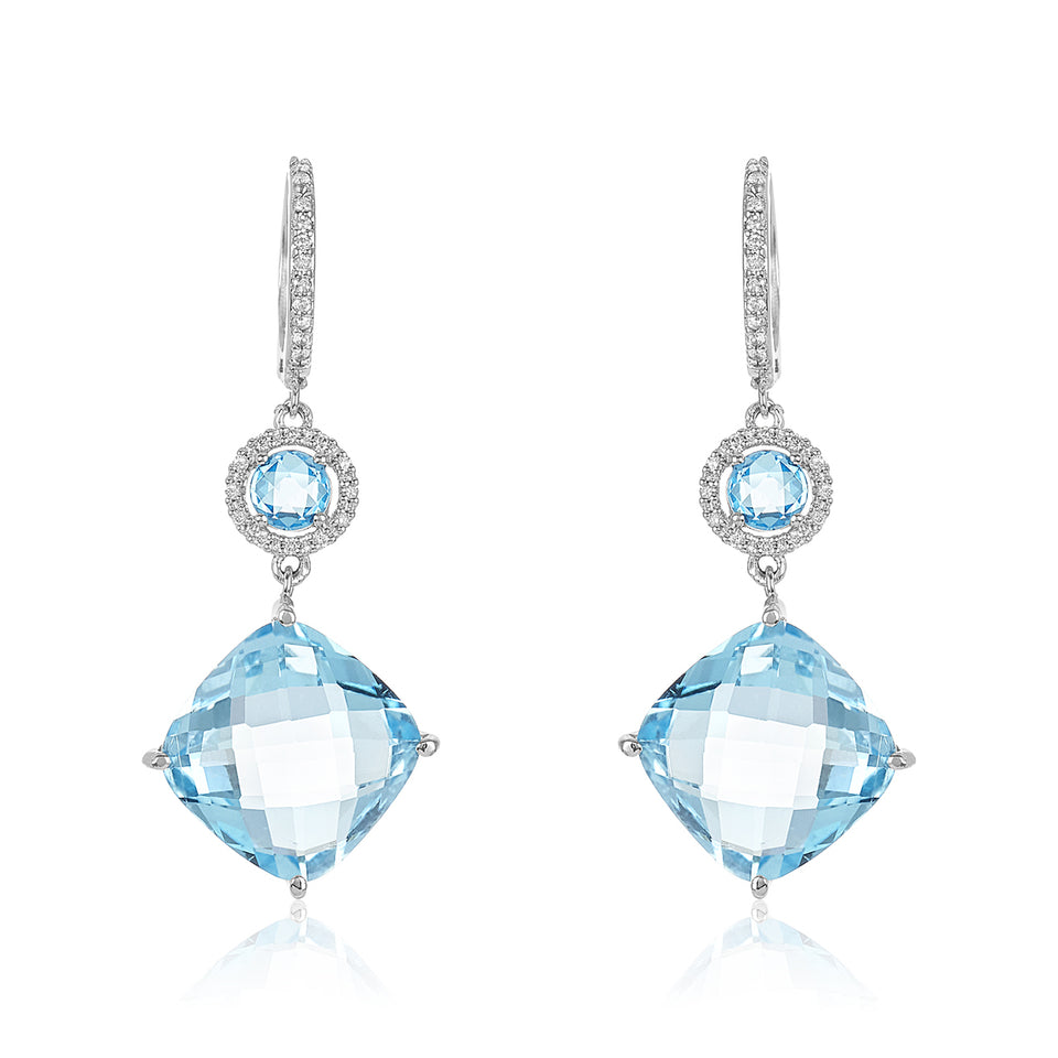 Two Tier Blue Topaz Diamond Earrings
