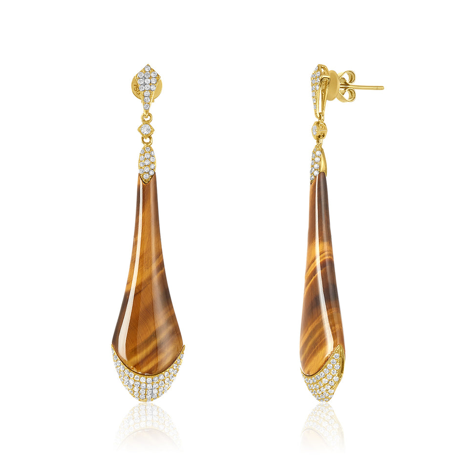Tiger Eye & Diamond Earrings