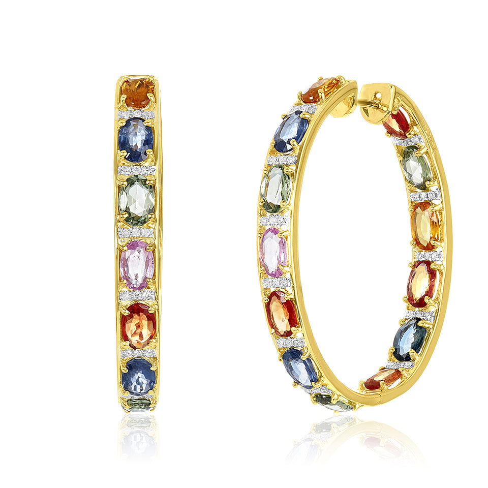 Multi-colored Sapphire & Diamond Hoop Earrings