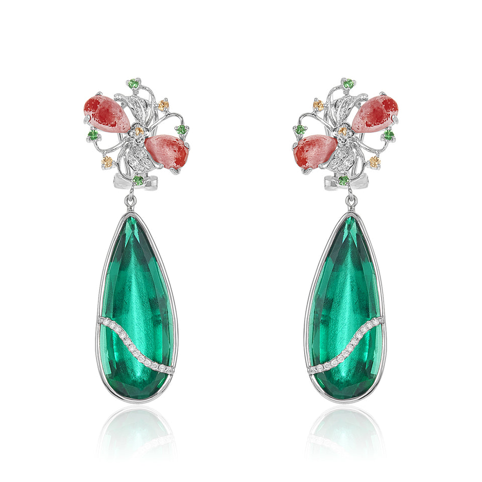 Green Garnet, Coral & Diamond Earring