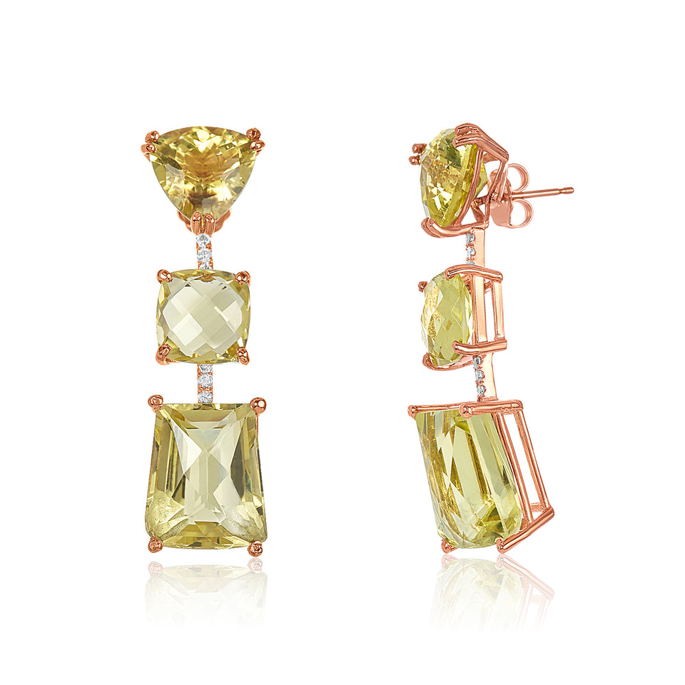 Three Tier Green Amethyst & Diamond Earring
