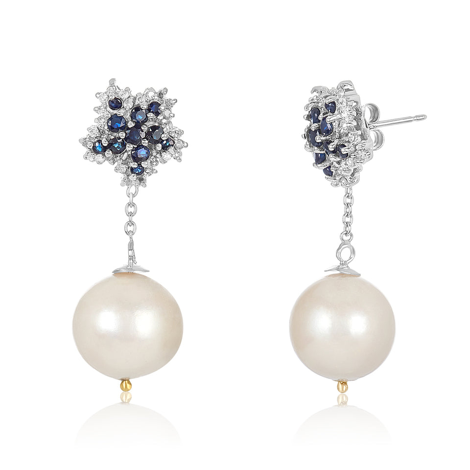 Star Sapphire Pearl Diamond Earrings