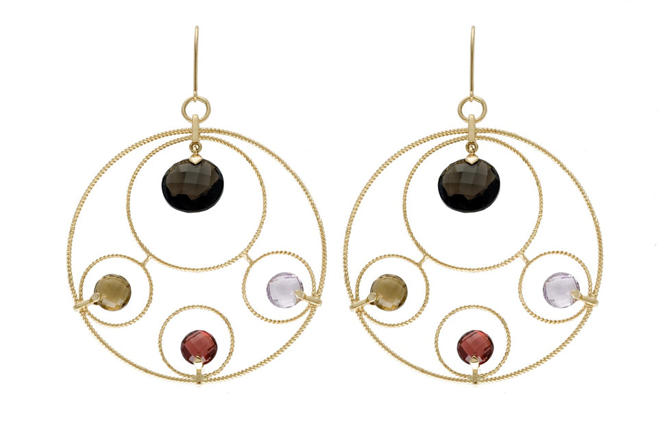 Nehita White  Multi Round Earring