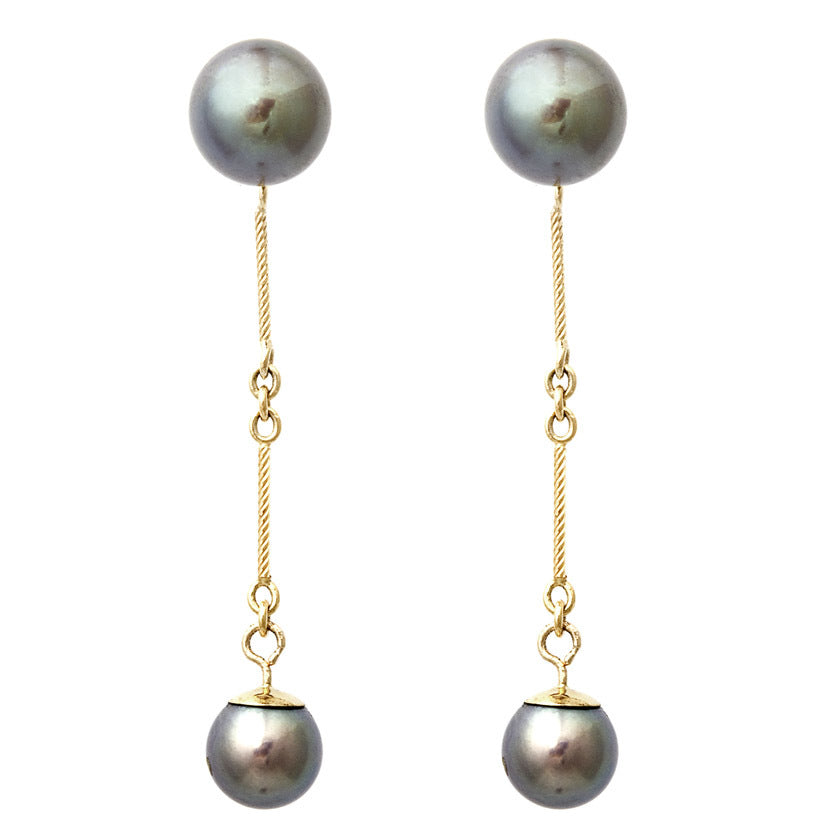 Dual Black Pearl Earrings