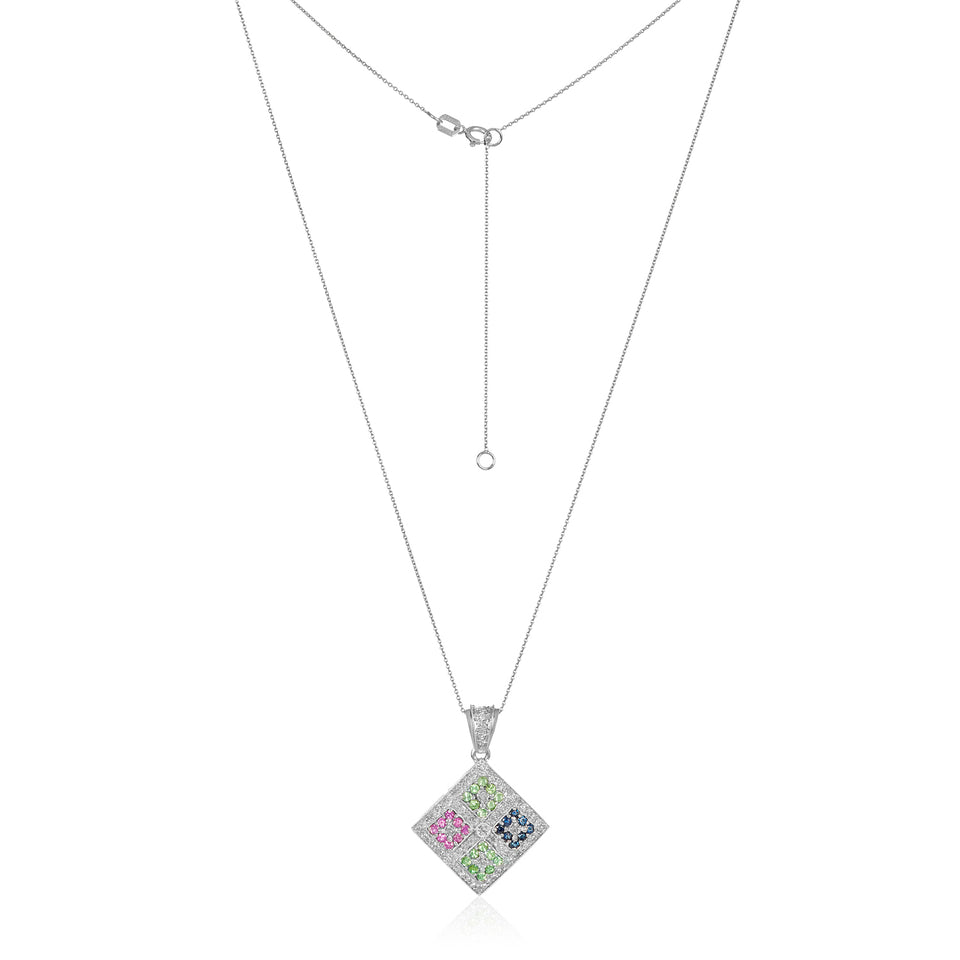 Quad Amethyst & Diamond Gemstone Pendant