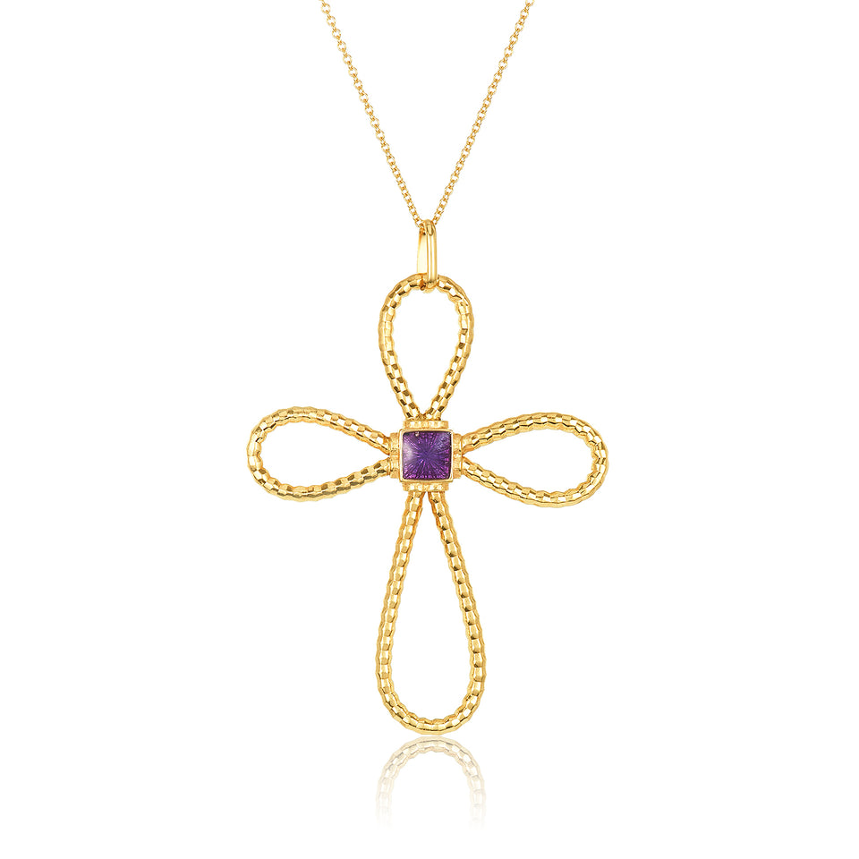 Enamel Citrine Cross Pendant