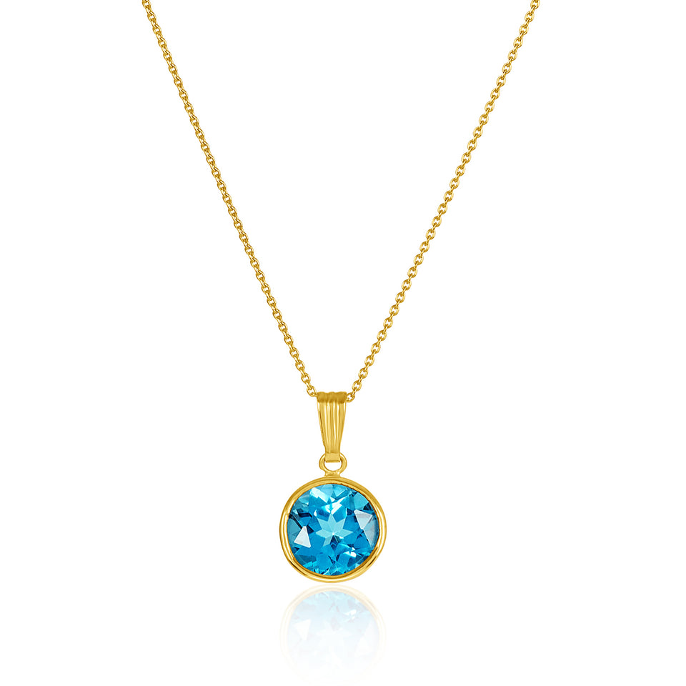 Blue Topaz  Birthstone Pendant ~ December Birthstone