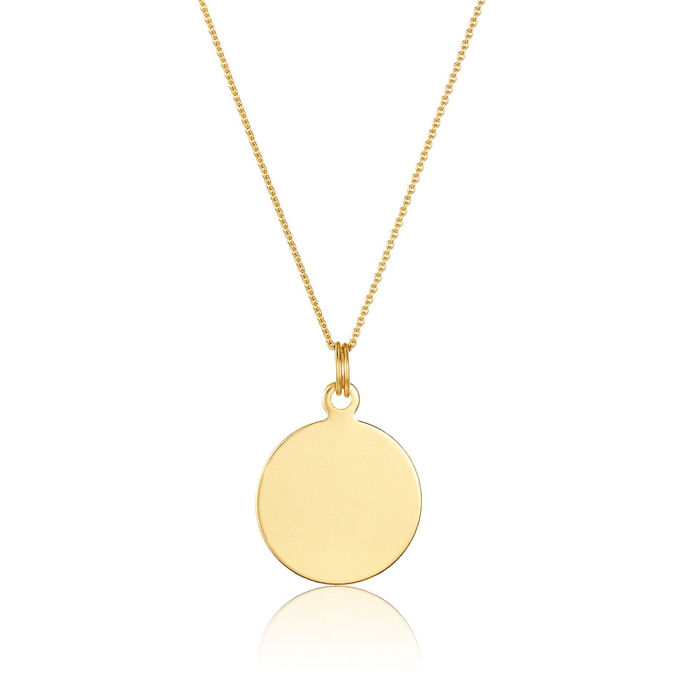 Nehita 14K Yellow Gold Engravable Disc Pendant Necklace
