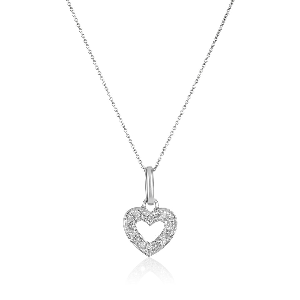 White Diamond Open Heart Pendant