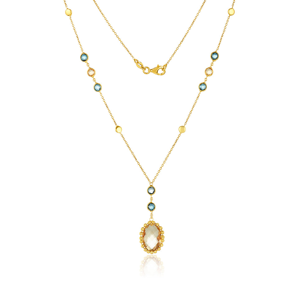 Citrine & London Blue Topaz Necklace