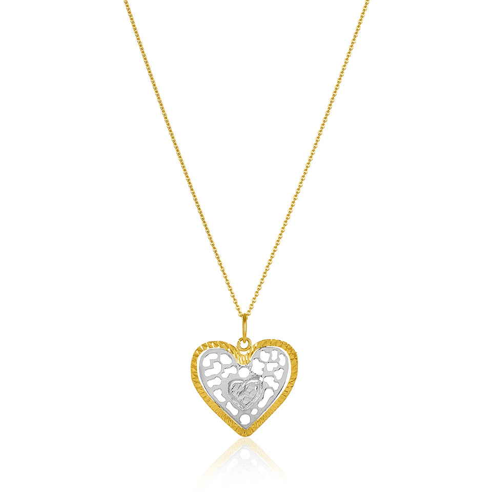 Two Tone Heart Pendant