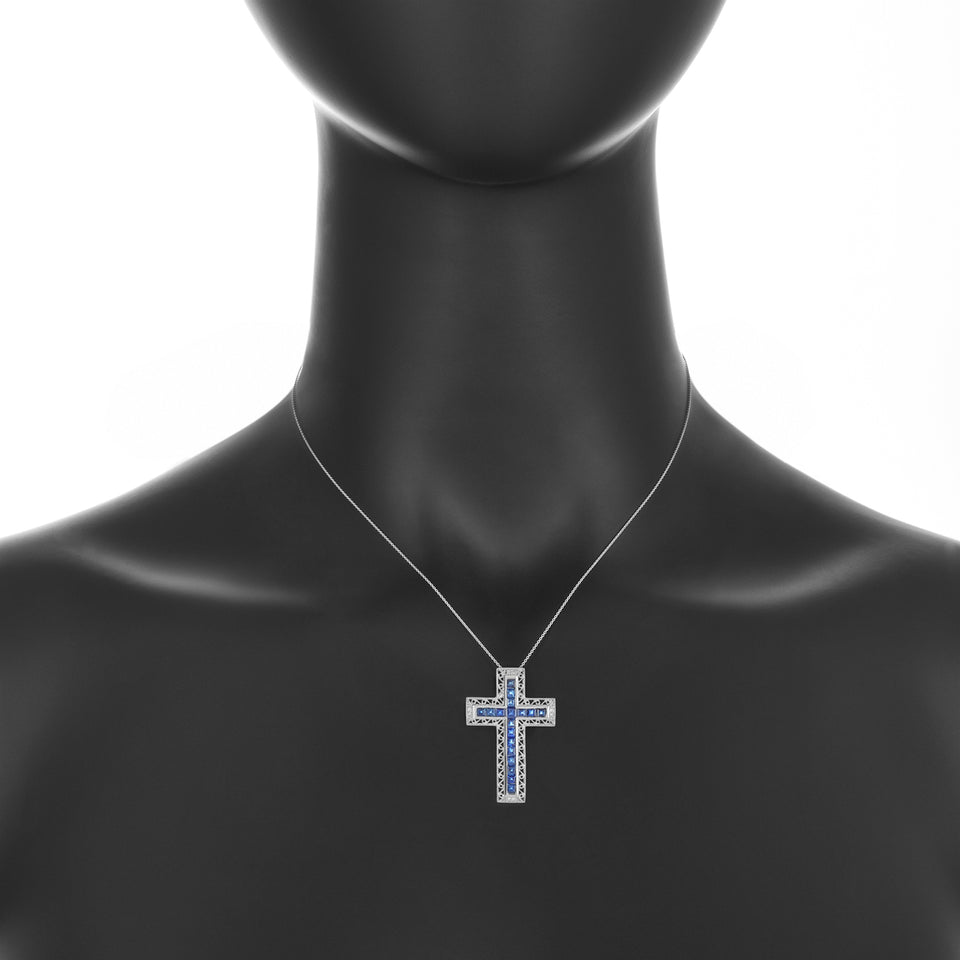 White Gold Sapphire & Diamond Cross Pendant