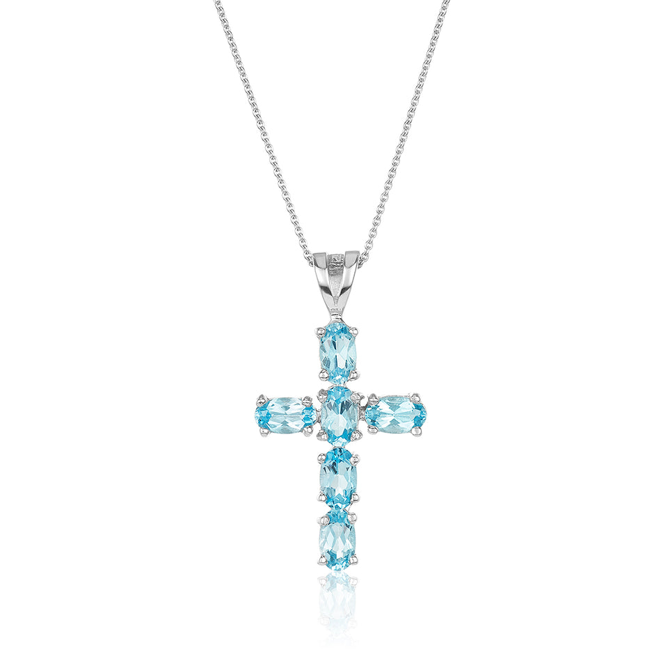 Blue Topaz Cross Pendant
