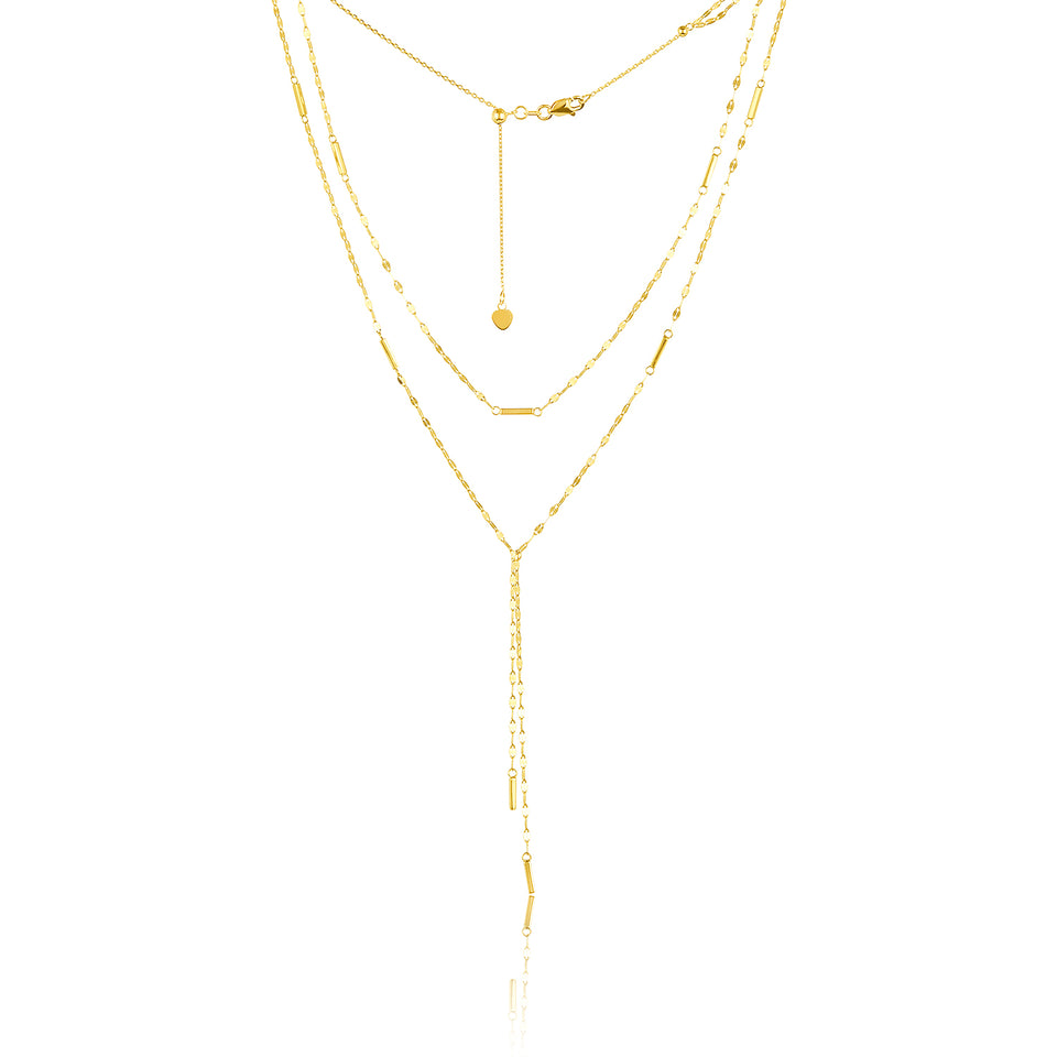 Layered  Drop Necklace ~ White Gold