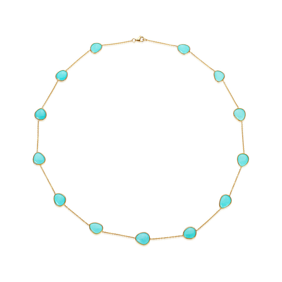 Oval Turquoise & Yellow Gold  Necklace