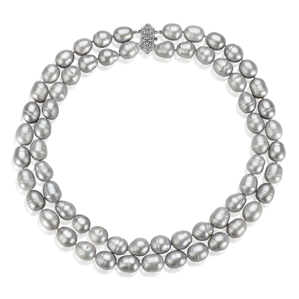 Two Layer Gray Pearl Necklace