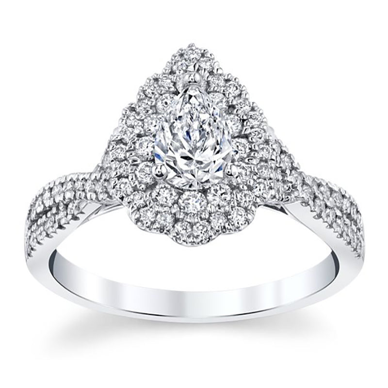 Criss-cross Teardrop Diamond Engagement Ring