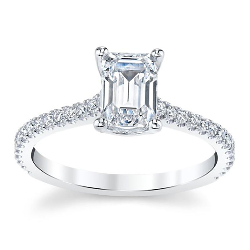 Moissanite Emerald-Cut Engagement Ring With Pave Diamond Band