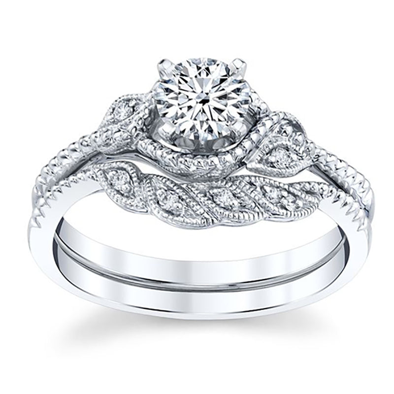 Halo Engagement & Wedding Band Diamond Ring