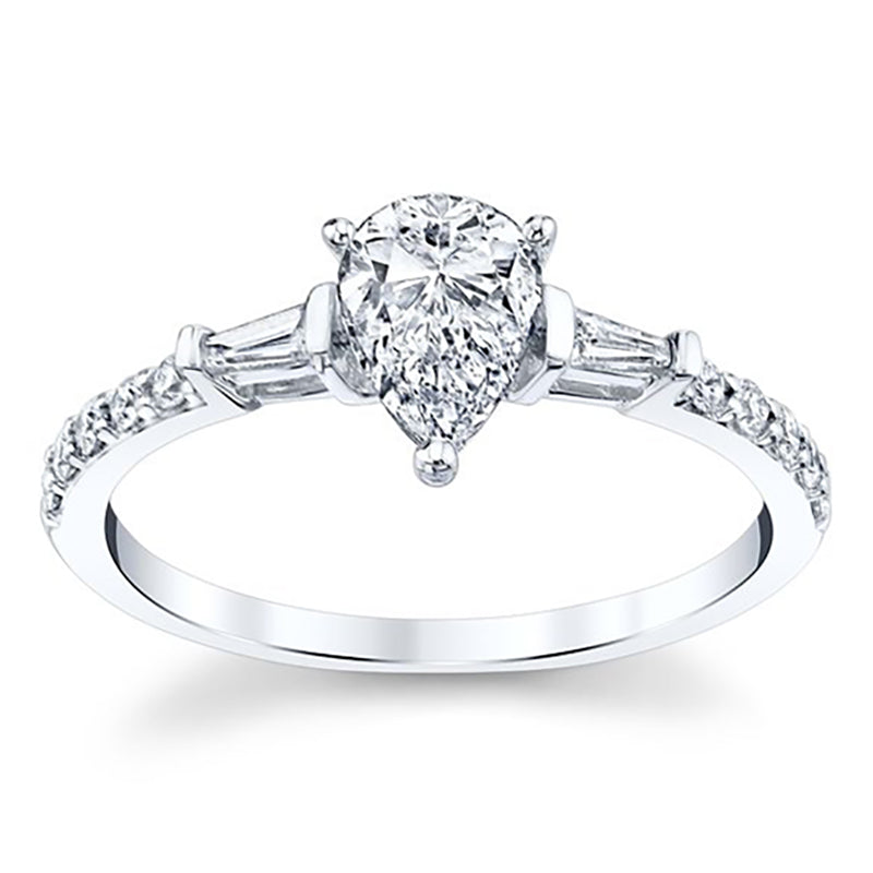 Pear Shaped 3 Prong Setting Moissanite Engagement Ring