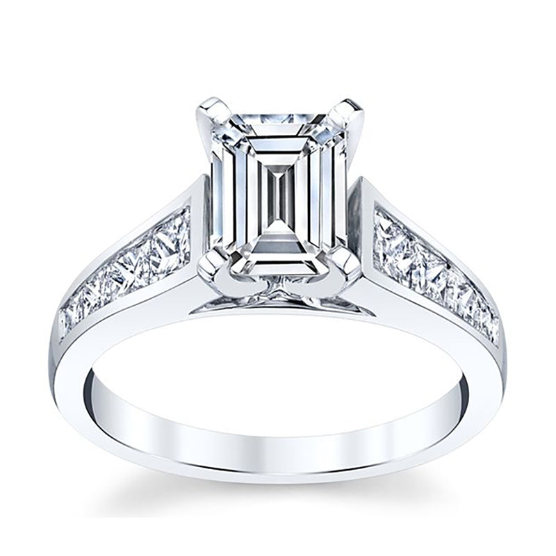 Emerald-Cut Moissanite Engagement Ring With Graduating Diamond Band